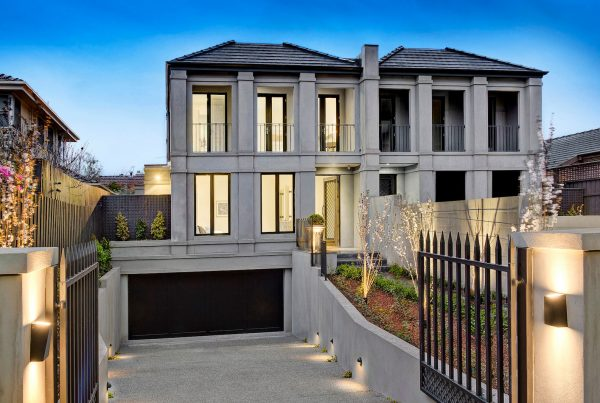 Architecturally designed Kew residence entrance
